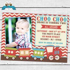 Vintage Choo Choo Birthday Party Printable Photo Invitation
