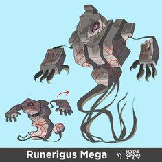 Runerigus Mega by rsam Ghost Type Pokemon, 150 Pokemon, Pokemon People, Pokemon Memes, Pokemon Fusion Art, Pokemon Fan Art, Skylanders, Mega Evolution Pokemon, Pokemon Rayquaza