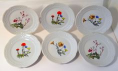 "Deshoulieres-Lourioux French dessert plates 6"" flower design set of 6  #Lourioux"