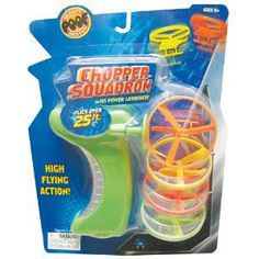 Chopper Squadron - Pull the rip cord and launch the plastic flying discs high in the air! It's compact design makes it easy to grip and hold. Comes with 4 discs for high flying fun!