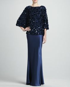Hand Beaded Lace Tunic Top & Liquid Satin Flared Hem Gown Skirt  by St. John Collection at Neiman Marcus.