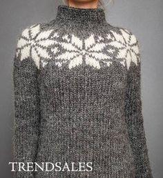 FruStrik - Kjole, Strikkjole, Sweater, Lang sweater, Stjernesweater, Islandsk uld, Fru Strik
