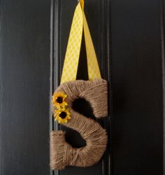 Jute Letter S   Monogram Initial  Wreath yellow by courtscrossing, $16.00