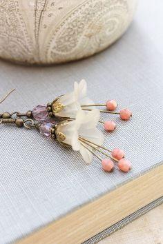 Lucite Flower Earrings Long Dangle Earrings