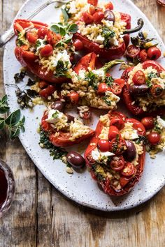 Greek Orzo Stuffed Red Peppers with Lemony Basil Tomatoes. -You can find Tomatoes and more on our website.Greek Orzo Stuffed Red Peppers with Lemony Basil Tomatoes. Veggie Recipes, Dinner Recipes, Cooking Recipes, Healthy Recipes, Orzo Recipes, Greek Food Recipes, Dinner Ideas, Chicken Recipes, Stuffed Tomato Recipes
