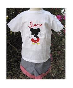 MICKEY MOUSE NUMBER Monogrammed Birthday Shirt by ChildrensCottage