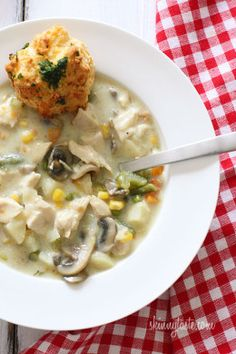 Chicken pot pie is ultimate comfort food and this creamy, chunky soup is loaded with chicken, potatoes, mushrooms, peas, carrots, corn, celery, onions and green beans in every bite.