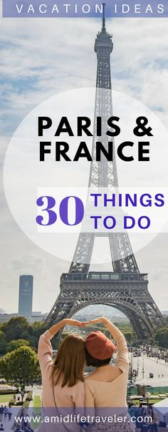 Paris and France vacation planner! Lists of places to go and things to do. Includes top Paris attractions and day tours. Looking for ideas to plan your Paris vacation? Use this! #parisvacation #bucketlistparis #bucketlisttravel #paristravel #thingstodoparis #vacationparis