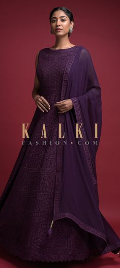 Merlot purple anarkali gown in georgette. Adorned with thread embroidered floral ethnic pattern along with kundan work. Evening Gowns Online, Designer Evening Gowns, Designer Gowns, Anarkali Gown, Anarkali Suits, Punjabi Suits, Churidar Suits, Patiala, Indian Long Gowns