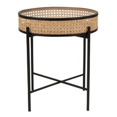 I love this little round rattan side table, it would look great in my living room or bedroom. Hallway Furniture, Rattan Furniture, Small Furniture, Dining Room Furniture, Furniture Design, Wicker Side Table, Metal Side Table, Black Side Table, Table Diy