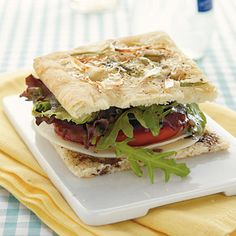 Focaccia Sandwich with Spring Greens Vegetarian Recipe < Vegetarian Sandwiches - Cooking Light