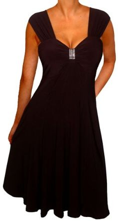 Fashion Bug SLIMMING BLACK EMPIRE WAIST COCKTAIL CRUISE DRESS Plus Size Made in USA