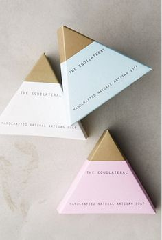 I think the package design for this product is done very nicely. Soap is ususally rectangular and I think making it into a triangle is a unique way to draw in buyers. The light colors create a clean feel, the type isnt cluttering, and the gold accent pulls the final product together and adds emphasis.