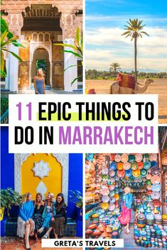 Looking for the best things to do in Marrakech? Discover these 11 unique experiences you must have in this beautiful Moroccan city // Gretas Travels -- Riads In Marrakech, Marrakech Morocco, Kenya Travel, Morocco Travel, Africa Travel, Marrakech Travel, Usa Travel, Travel Guides, Morocco