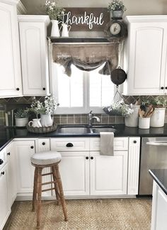 24 Best Farmhouse Kitchen Sink Decor Ideas-Like the small under cab moulding, and the backsplash Kitchen Sink Decor, Farmhouse Kitchen Cabinets, Farmhouse Style Kitchen, Modern Farmhouse Kitchens, Kitchen Styling, New Kitchen, Kitchen Ideas, Farmhouse Decor, Country Kitchen
