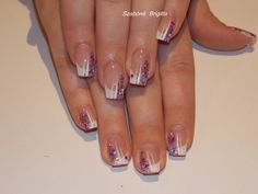 francia műköröm lila csillámmal