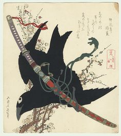 Hokusai (1760 - 1849) Japanese Woodblock Reprint  Crow and Sword Surimono
