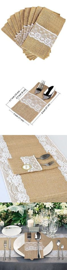 Flatware Storage 159899: Ourwarm 50Pcs 4 X8 Hessian Burlap Lace Wedding Cutlery Holder Pouch Rustic -> BUY IT NOW ONLY: $30.1 on eBay!