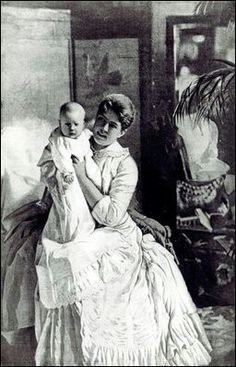 First Lady Frances Cleveland holds baby Esther, the first and only child of a president to be born at the White House. Esther was born on September 9 , 1893.