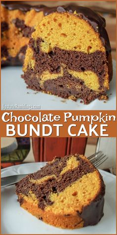 Chocolate Pumpkin Bundt Cake - This Bundt cake features chocolate and pumpkin batter swirled together and topped off with chocolate glaze - a perfect fall cake or Halloween treat. Chocolate Pumpkin Cake, Pumpkin Bundt Cake, Pumpkin Dessert, Chocolate Glaze, Pumpkin Brownies, Fall Dessert Recipes, Fall Desserts, Cake Recipes, Thanksgiving Chocolate Desserts
