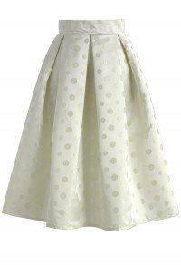 Pure and Bright Polka Dots A-line Midi Skirt