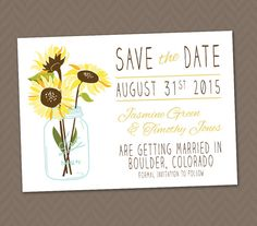 Sunflower Save the Date   DIY Printable Rustic by LLPapergoods