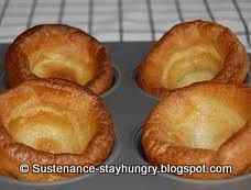 Yorkshire Puddings 1 c milk 4 oz flour -approx 1 cup 3 large eggs, room temperature tsp salt 2 tbsp butter Oven Grease a popover or muffin pan with oil. Whisk together milk, flour, eggs & salt til batter is very smooth. Let batter rest 15 minu Gf Recipes, Gluten Free Recipes, Cooking Recipes, Dishes Recipes, Cooking Videos, Copycat Recipes, Lunch Recipes, Cooking Time, Delicious Recipes