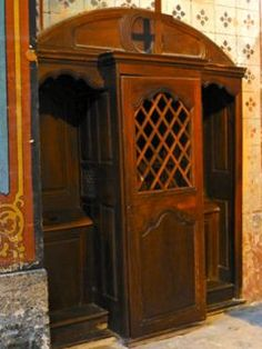 The confessional in the ancient church in Gordes, France