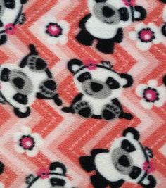 Item # 13632302 Anti-Pill Fleece Fabric Pandas On Chevron