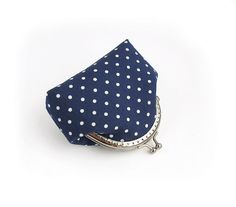 Navy Blue Polka Dot Coin Purse with kisslock by VasilinkaStore, $22.00