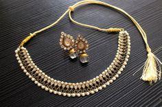 necklace earring Indian traditional polki faux kundan pearl ethnic white black #MAESHA #Bib $22