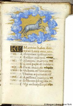 Aries, as depicted in a book of hours (MS M. 1030). (utu.morganlibrary.org)