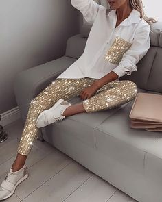 Sequin Long Sleeve Top & Pant Sets Women White Shirt Sequined Pants Two Piece Set Spring Streetwear Casual Tracksuit, Gold / XL Trend Fashion, Look Fashion, Womens Fashion, Lolita Fashion, Winter Fashion, Mode Outfits, Casual Outfits, Dance Outfits, Tomboy Outfits
