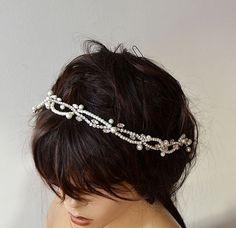 Wedding Wedding  Rhinestone and Pearl  headband  Bridal by ADbrdal #bride #wedding #weddingaccessory #weddinghair #weddingveil