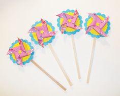 Mini Pinwheel Cupcake ToppersHapppy Fun Colors  by HomespunSpirit, $12.00