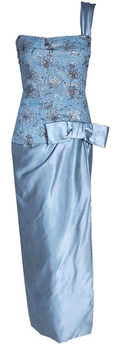Maggy Rouff - Robe de Soirée - Soie et Satin Bleu, Lamé, Perles, Sequins et Strass - Années 50