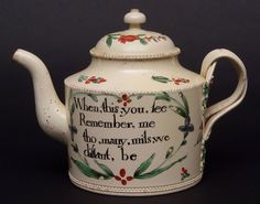 Lot 249 - Creamware teapot, circa 1775, decorated in typical fashion with floral sprigs and a verse, When this