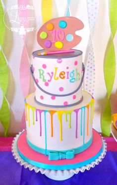 Charming art themed birthday cake.