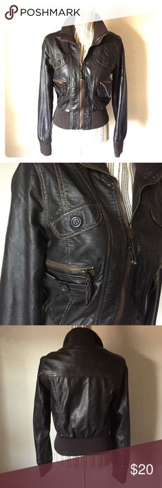 Dark Chocolate Brown Bomber Jacket Dark Chocolate Brown Bomber Jacket. Faux Leather. Lots of pockets and very flattering on. Size is small but can fit a medium as well. Wet Seal Jackets & Coats