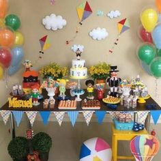 festa de menino simples Kite Party, Decoracion Baby Shower Niña, Baby Boy 1st Birthday Party, Baby Gifts To Make, Baby Boy Christmas, Star Baby Showers, Birthday Balloons, Holidays And Events, Birthday Decorations