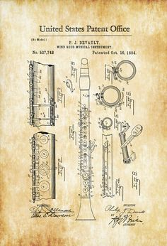 Clarinet Patent 1894 - Patent Print Wind Reed Woodwind Music Poster Music Art Musician Gift Band Director Gift Wind Instrument by PatentsAsPrints Band Director, Musician Gifts, Patent Drawing, Love Illustration, Patent Prints, Musical Instruments, Musicals, Poster Prints, Woodwind Instrument