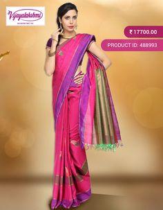 #Kanchivaramsilk #Partywear Pink kanchivaram silk saree comes with textures lines and pure zari and thread buttas woven. Saree comes with green magenta, lavender and pure zari stripes design border & with simple gatti pure zari pallu and comes with greenish shaded blouse piece with running border. http://www.vijayalakshmisilks.com/magenta-silk-kanchivaram-party-wear-saree