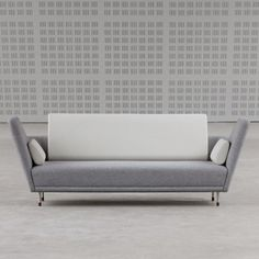 "Finn Juhl ""57 Sofa"". Smart plinth and integrated seat, nice angle and height to the arms but quite undecided on the inset back cushion and dropped back height #sofa #finnjuhl"