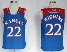 9d6c60671 Jayhawks  22 Andrew Wiggins Blue Basketball Stitched NCAA Jersey