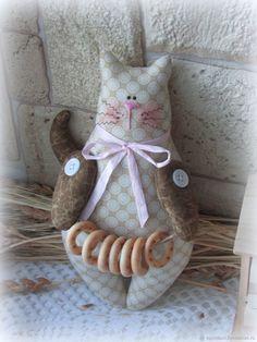 Котик текстильный в стиле Тильда – купить в интернет-магазине на Ярмарке Мастеров с доставкой