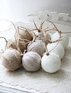 Set of 9 Rag Ball Trio. Handmade Christmas ornaments in linen and burlap via Etsy.