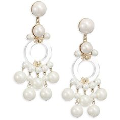 Lele Sadoughi Boulevard Faux-Pearl Clip-On Chandelier Earrings (725 PEN) ❤ liked on Polyvore featuring jewelry, earrings, artificial jewellery, faux pearl earrings, gold tone earrings, lele sadoughi earrings and gold tone jewelry