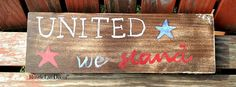 united we stand/ Wood sign/ Americana sign/ Red by RusticLuvDecor