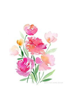 Flower Bouquet Watercolor Art Print by YaoChengDesign on Etsy