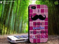 Mozaic Glitter Pink Mustache Valentine Question by SidePucket, $14.89